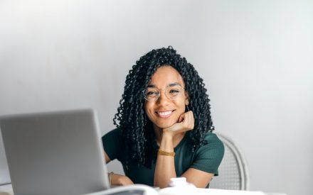 a woman at a computer